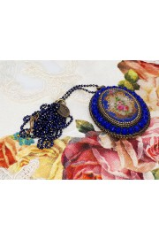 Michal Negrin Blue Roses Beaded Oval Necklace