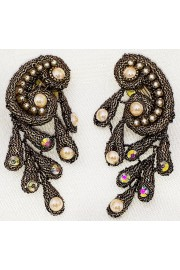 Michal Negrin Blackened Gold Lace Pearl Clip Earrings