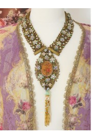 Michal Negrin Victorian Roses Cameo Lace Medallion Necklace