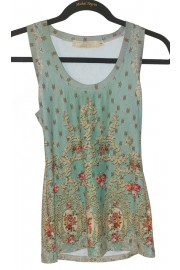 Michal Negrin Green Roses Tank Top