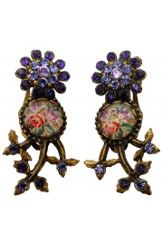 Michal Negrin Purple Crystal Cameo Clip Earrings