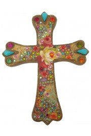 Michal Negrin Multicolor Roses Wall Decor Cross