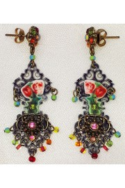 Michal Negrin Multicolor Roses Lasercut Earrings