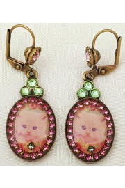 Michal Negrin Kitty Cat Cameo Oval Earrings