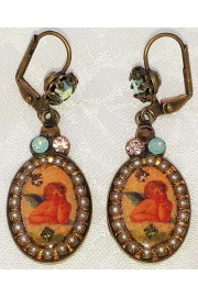 Michal Negrin Cherub Cameo Pearl Oval Earrings