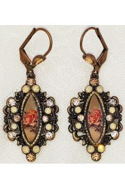 Michal Negrin Ocher Roses Crystal Earrings