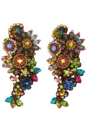 Michal Negrin Multicolor Vintage Lace Clip Earrings