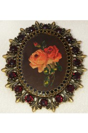 Michal Negrin Dark Roses Cameo Ornate Brooch