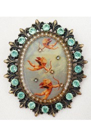 Michal Negrin Flying Cherubs Cameo Ornate Brooch