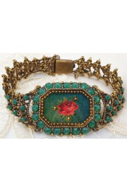 Michal Negrin Green Crystals Rose Cameo Bracelet