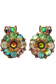 Michal Negrin Green Crystals Clip Earrings