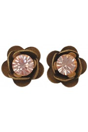 Michal Negrin Khaki Peach Rose Crystal Stud Earrings
