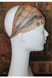 Michal Negrin Roses Print Satin Lace Headband