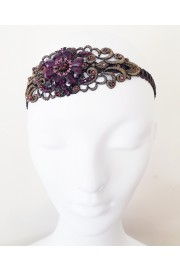 Michal Negrin Purple Crystal Flower Lace Headband