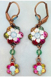 Michal Negrin Multicolor Crystal Double Flower Earrings