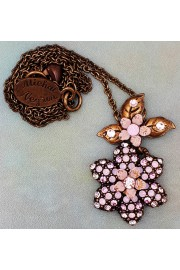 Michal Negrin Pink Paved Flower Necklace