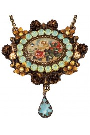 Michal Negrin Sea Green Gold Roses Cameo Necklace