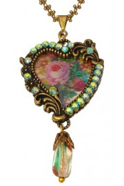 Michal Negrin Lenticular Heart Green Crystals Necklace
