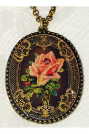 Michal Negrin Rose Oval Filigree Necklace