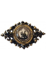 Michal Negrin Black Romantic Silhouette Cameo Brooch