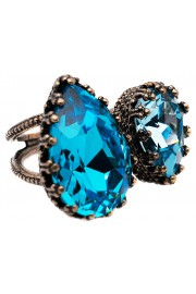 Michal Negrin Aqua Turquoise Double Crystal Ring