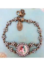 Michal Negrin Round Rose Cameo Pastel Crystals Bracelet