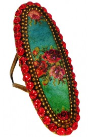 Michal Negrin Red Elongated Oval Roses Cameo Ring