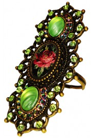 Michal Negrin Green Crystal Roses Cameo Elongated Ring