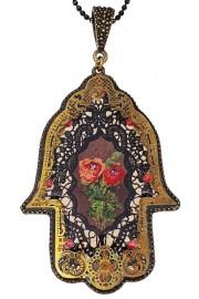 Michal Negrin Classic Roses Filigree Hamsa Necklace
