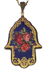 Michal Negrin Navy Roses Filigree Hamsa Necklace