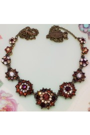 Michal Negrin Bronze Gold Crystal Flowers Necklace