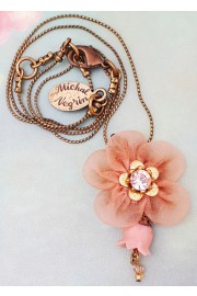 Michal Negrin Blush Peach Fabric Flower Necklace