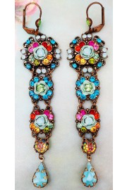 Michal Negrin Multicolor Crystals Long Drop Earrings