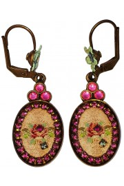 Michal Negrin Pink Rose Cameo Oval Earrings