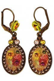 Michal Negrin Retro Roses Cameo Oval Earrings