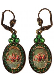 Michal Negrin Green Rose Cameo Oval Earrings