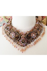 Michal Negrin Khaki Peach Embellished Lace Necklace