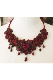 Michal Negrin Red Lace Bib Necklace