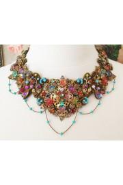 Michal Negrin Multicolor Lace Bib Necklace