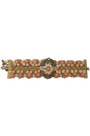 Michal Negrin Pearl Peach Beaded lace Ornate Bracelet