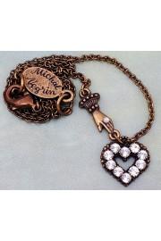 Michal Negrin Silver Mini Victorian Hand & Heart Necklace