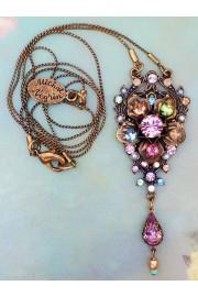 Michal Negrin Lilac Pastel Pearl Floral Pendant Necklace