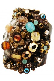 Michal Negrin Earth Tones Floral Beads Cuff Ring