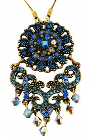 Michal Negrin Blue Edwardian Crystal Pendant Necklace