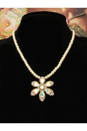 Michal Negrin Pearl White Daisy Beaded Necklace