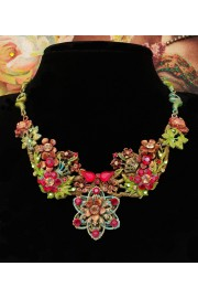 Michal Negrin Red Green Gold Lace Retro Necklace