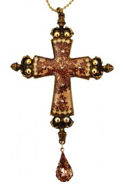 Michal Negrin Brown Roses Cross Necklace