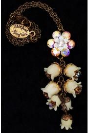 Michal Negrin Cream White Bells Drop Necklace