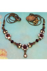Michal Negrin Peach Garnet Delicate Crystal Flowers Necklace