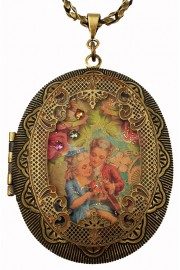 Michal Negrin Romance Large Filigree Locket Necklace